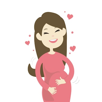 Felice donna incinta sorridente
