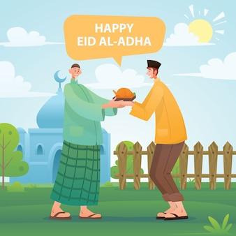 Felice eid al adha muslim che condivide il cibo