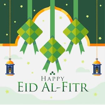 Felice eid al fitr sfondo con diamanti appesi e ornamenti lanterna