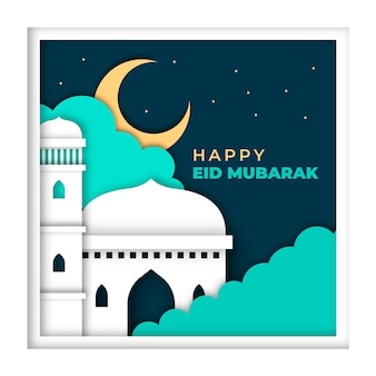 Felice eid mubarak moschea in stile carta