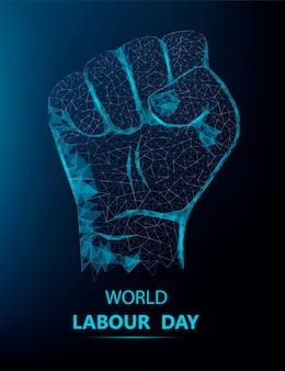 Felice festa del lavoro banner con mano poligonale