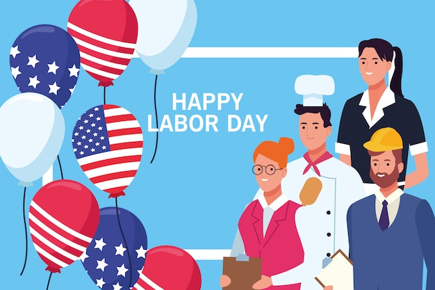 Felice festa del lavoro carta, vacanze negli stati uniti