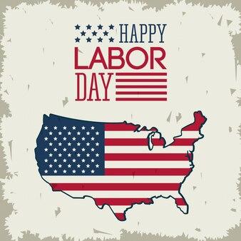 Felice festa del lavoro con la bandiera americana nella forma della mappa degli stati uniti