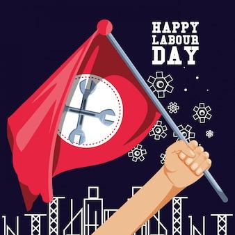 Felice festa del lavoro e mano con bandiera