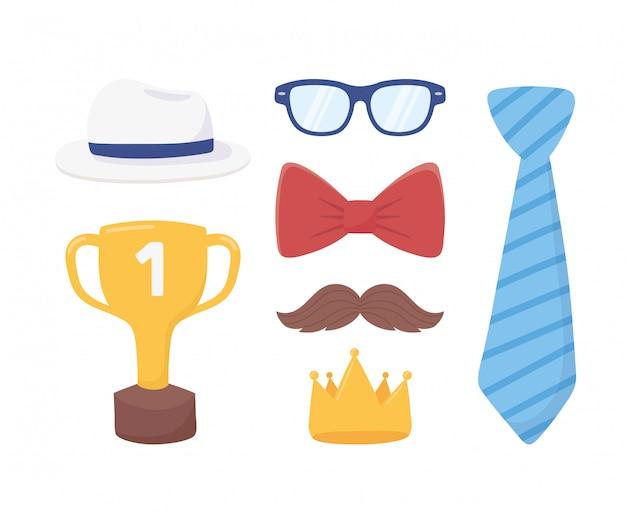 Felice festa del papà, cravatta con corona d'oro baffi occhiali cappello papillon