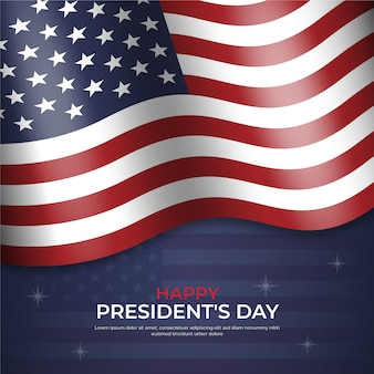 Felice festa del presidente con bandiera e stelle realistiche