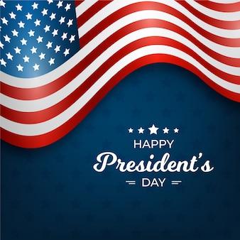 Felice festa del presidente con bandiera realistica