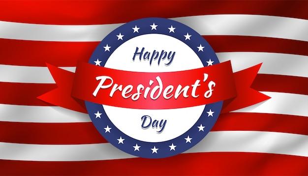 Felice festa del presidente con forma circolare e nastro con bandiera realistica