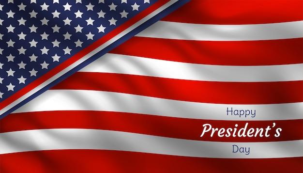 Felice festa del presidente con realistica bandiera usa