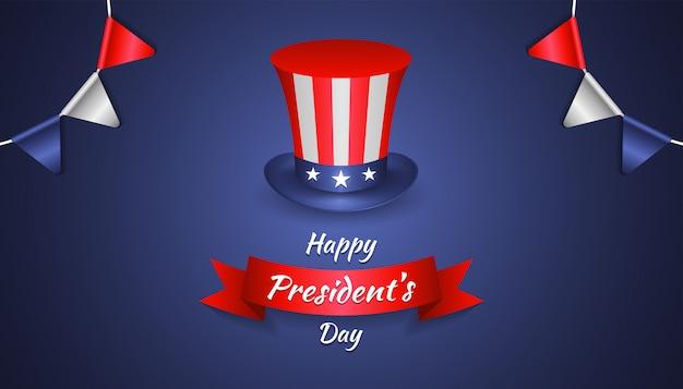 Felice festa del presidente con realistico cappello di zio sam, bandiera del partito e nastro