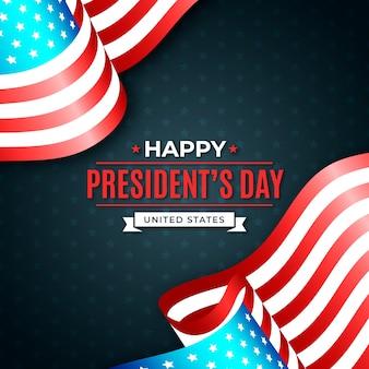Felice festa del presidente e coppia di bandiere
