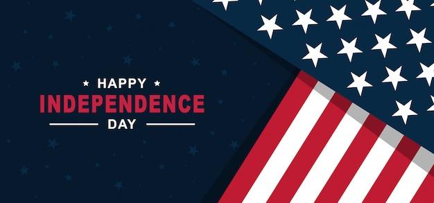 Felice festa dell'indipendenza degli stati uniti d'america 4 luglio con bandiera americana