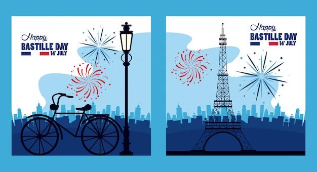 Felice festa della bastiglia con la torre eiffel e fuochi d'artificio