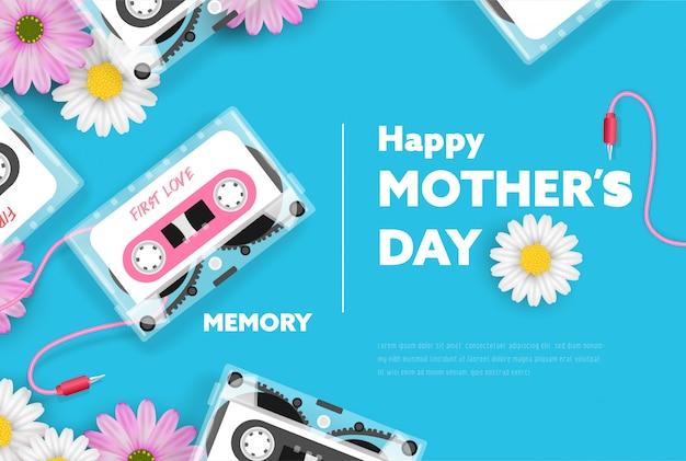 Felice festa della mamma banner con cassetta nastro classico e fiori.