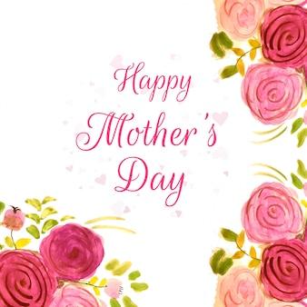 Felice festa della mamma bel design con fiori ad acquerelli