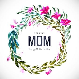 Felice festa della mamma card con fiori circolari design del telaio
