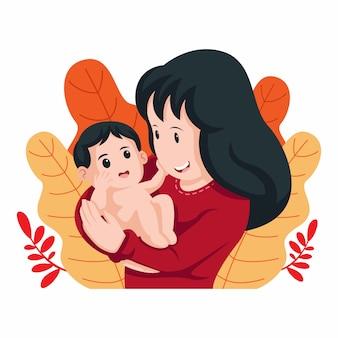 Felice festa della mamma card. ragazzino sveglio che tocca sua madre. abbracciare sua madre nell'illustrazione a forma di cuore.