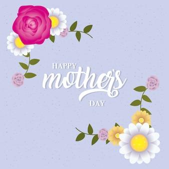Felice festa della mamma carta con decorazione floreale