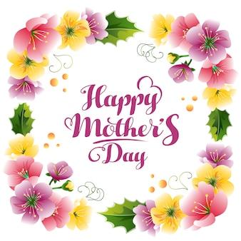 Felice festa della mamma con cornice di decorazione floreale carino