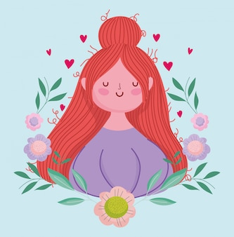 Felice festa della mamma, donna con decorazione di fiori di capelli dei cartoni animati