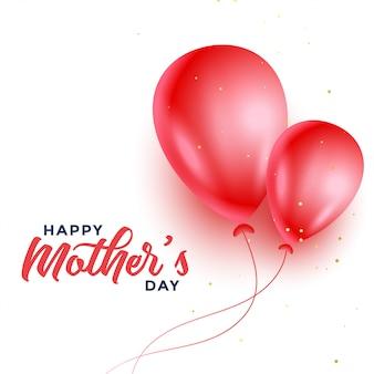 Felice festa della mamma due palloncini rossi progettazione del fondo