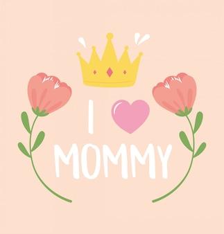 Felice festa della mamma, fiori corona cuore decorazione romantica