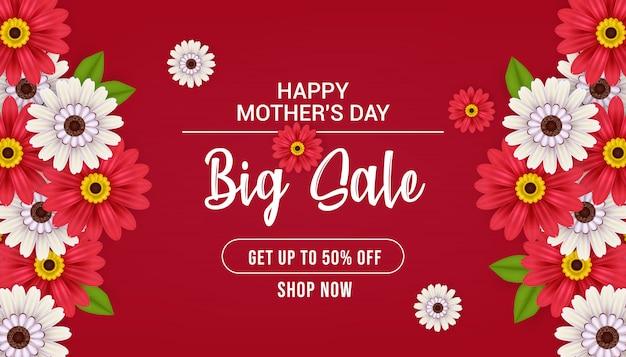 Felice festa della mamma grande vendita banner design, illustrazione