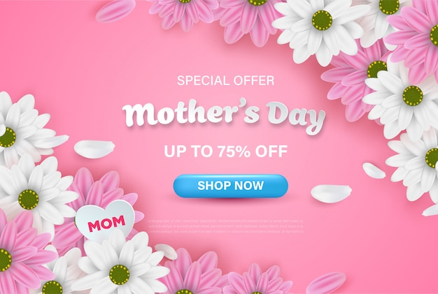 Felice festa della mamma in vendita su sfondo rosa con fiori realistici.