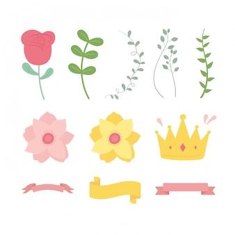 Felice festa della mamma, ramo di fiori foglie icone nastro e corona