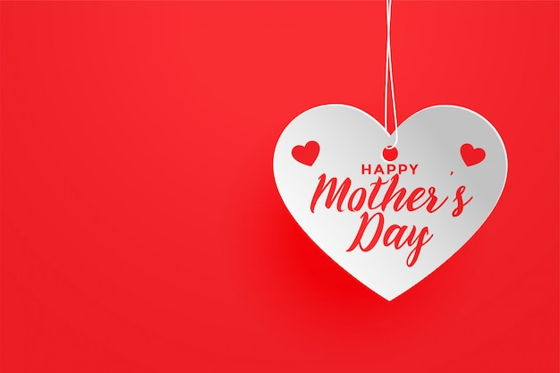 Felice festa della mamma sfondo a tema cuore rosso