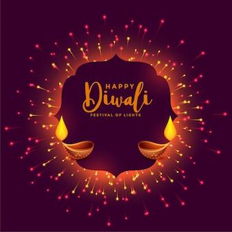Felice festa di diwali con fuochi d'artificio e diya