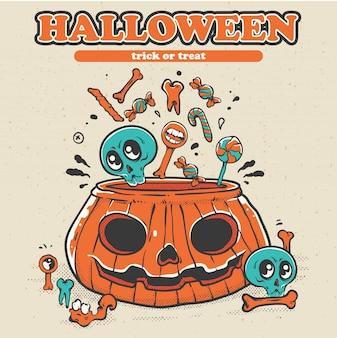 Felice festa di halloween poster con spettrale.
