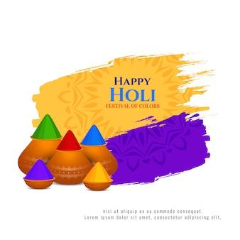 Felice festa di holi con vasi colorati