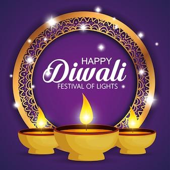 Felice festival di diwali di luci con candele