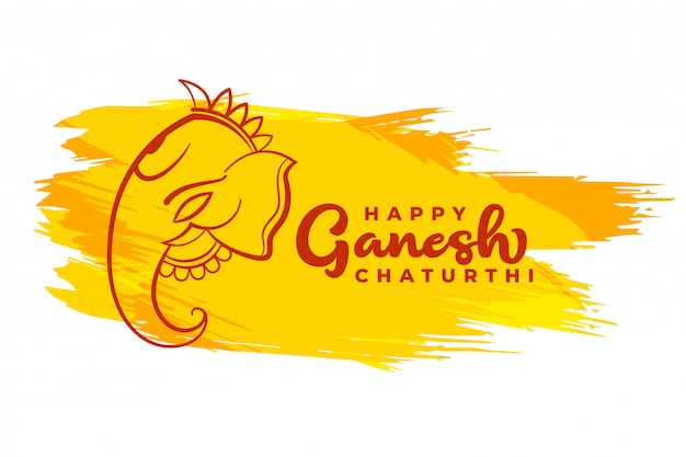 Felice ganesh chaturthi card design in stile astratto