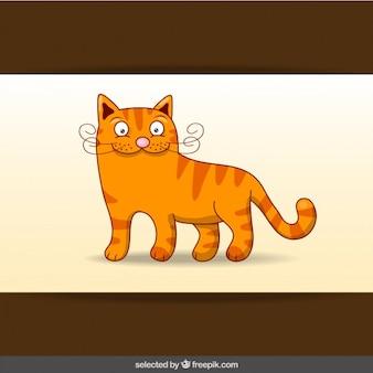 Felice gatto arancione cartone animato