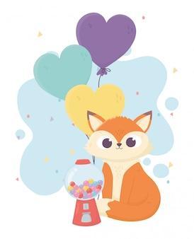 Felice giorno, caramelle piccola volpe e palloncini illustrazione