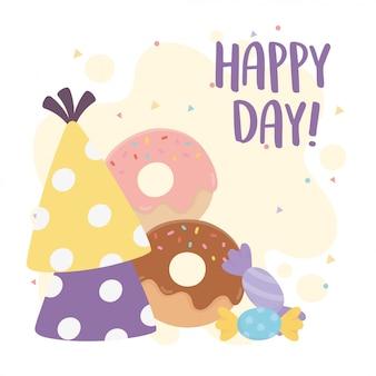 Felice giorno, ciambelle cappelli e caramelle fumetto illustrazione