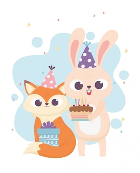 Felice giorno, coniglio volpe con torta cappello festa e illustrazione regalo
