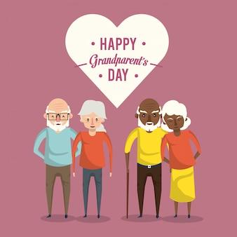 Felice giorno dei nonni carta con cartoni animati