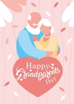 Felice giorno dei nonni poster con coppia di anziani abbracciati