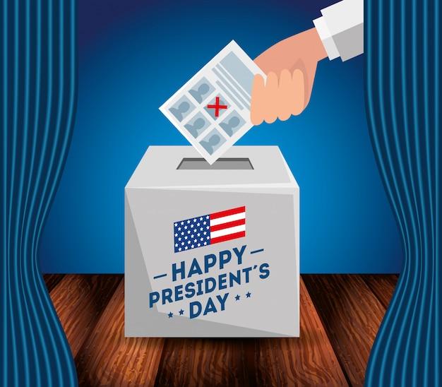 Felice giorno dei presidenti con l'urna