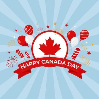 Felice giorno del canada con palloncini e fuochi d'artificio