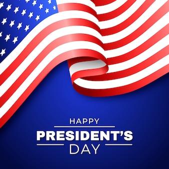 Felice giorno del presidente della bandiera degli stati uniti