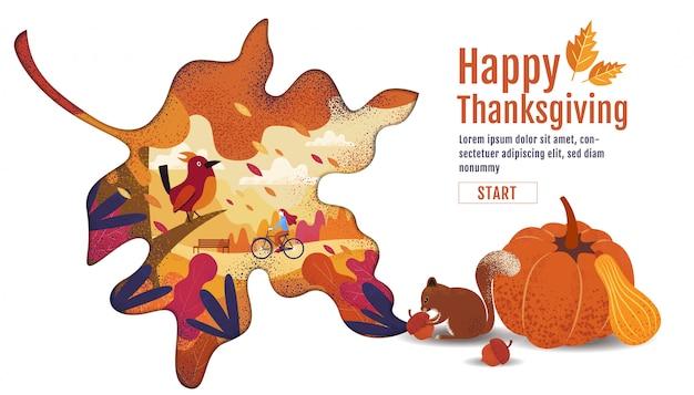 Felice giorno del ringraziamento, autunno., disegno, cartone animato, paesaggio