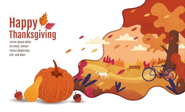 Felice giorno del ringraziamento, autunno., disegno, cartone animato, stile di pittura di paesaggio.