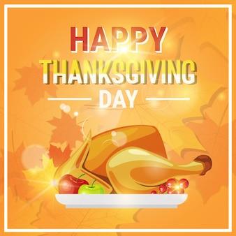 Felice giorno del ringraziamento autunno tradizionale biglietto di auguri con tacchino arrosto