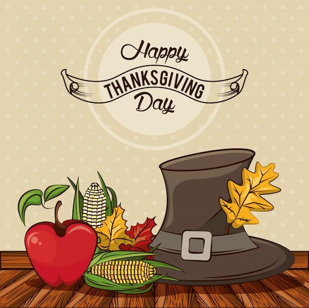 Felice giorno del ringraziamento carta con cappello pellegrino e verdure