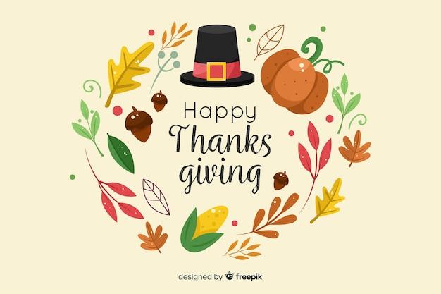 Felice giorno del ringraziamento in design piatto