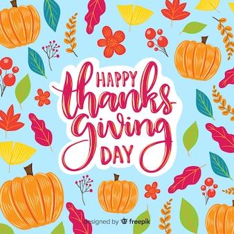 Felice giorno del ringraziamento lettering carta da parati